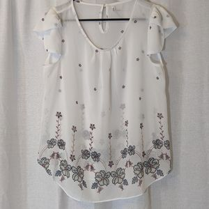 3 For $15 Dna Couture White Sheer Blouse Sz M